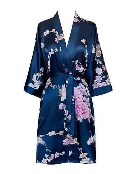 Old Shanghai Women's Kimono Short Robe   Chrysanthemum & Crane by Old Shanghai