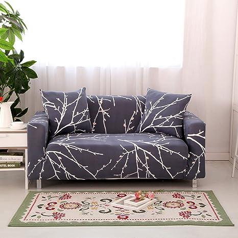 Hysenm - Funda de sofá de 1/2/3/4 plazas, cubre sofá ajustable, suave, elástico, colores auténticos de flores, tela, gris, 1 Sitzer 85-140cm