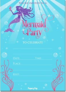 Amazon mermaid birthday party invitations fill in style 20 mermaid invitations with envelopes 15 count mermaid party invitations kids birthday invitations filmwisefo