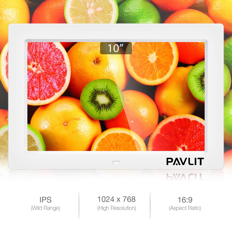 Marco Digital de Fotos, PAVLIT LCD Pantalla de 10 Pulgadas con Alta Resolución, IPS Widescreen FHD para Fotos y Vídeos, Color Blanco, Remote Control 【2018 ...