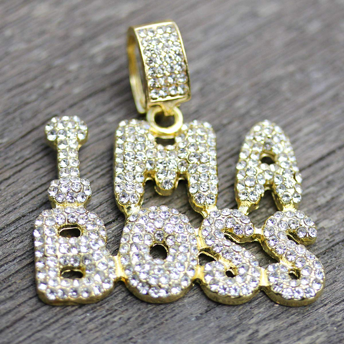 Jewel Town Fully Cz Ima BOSS 14k Gold Pendant Necklace WithTwo 24//18 Inch Tennis Chains 5mm