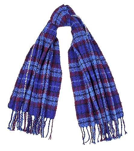Tartan Traditions Bright Blue Tartan Boucle Large Blanket Scarf