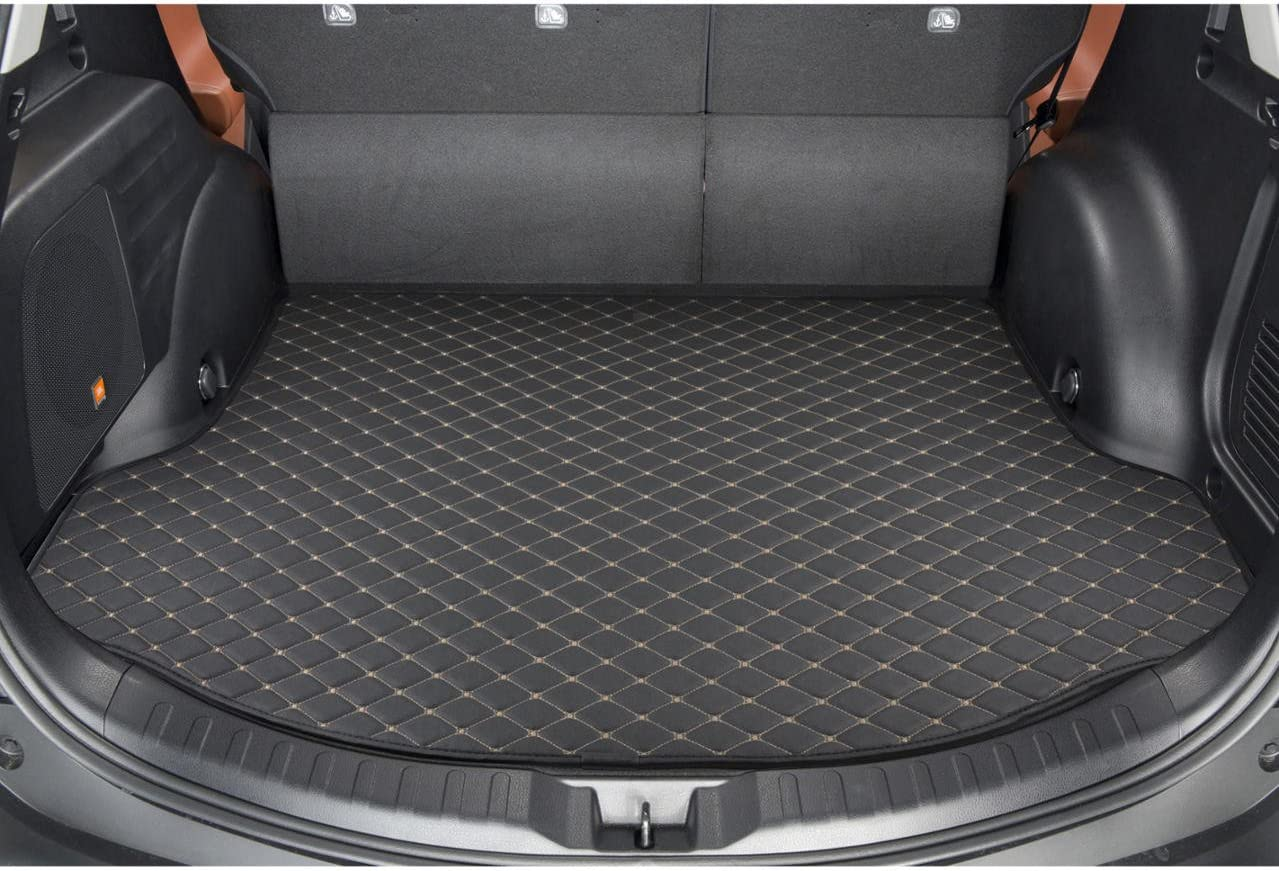Motor Trend PM-803 Custom Exact Fit Luxury Padded PU Leather Leatherette Trunk Mat Cargo Liner (for Toyota RAV4 2015-2016), 1 Pack, Black (PM803)