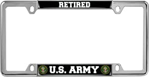 U.S. Army Retired - Domed Custom-Made Personalized Narrow (Thin) Top 4 Hole Metal Car License Plate Frame with Free caps - Chrome