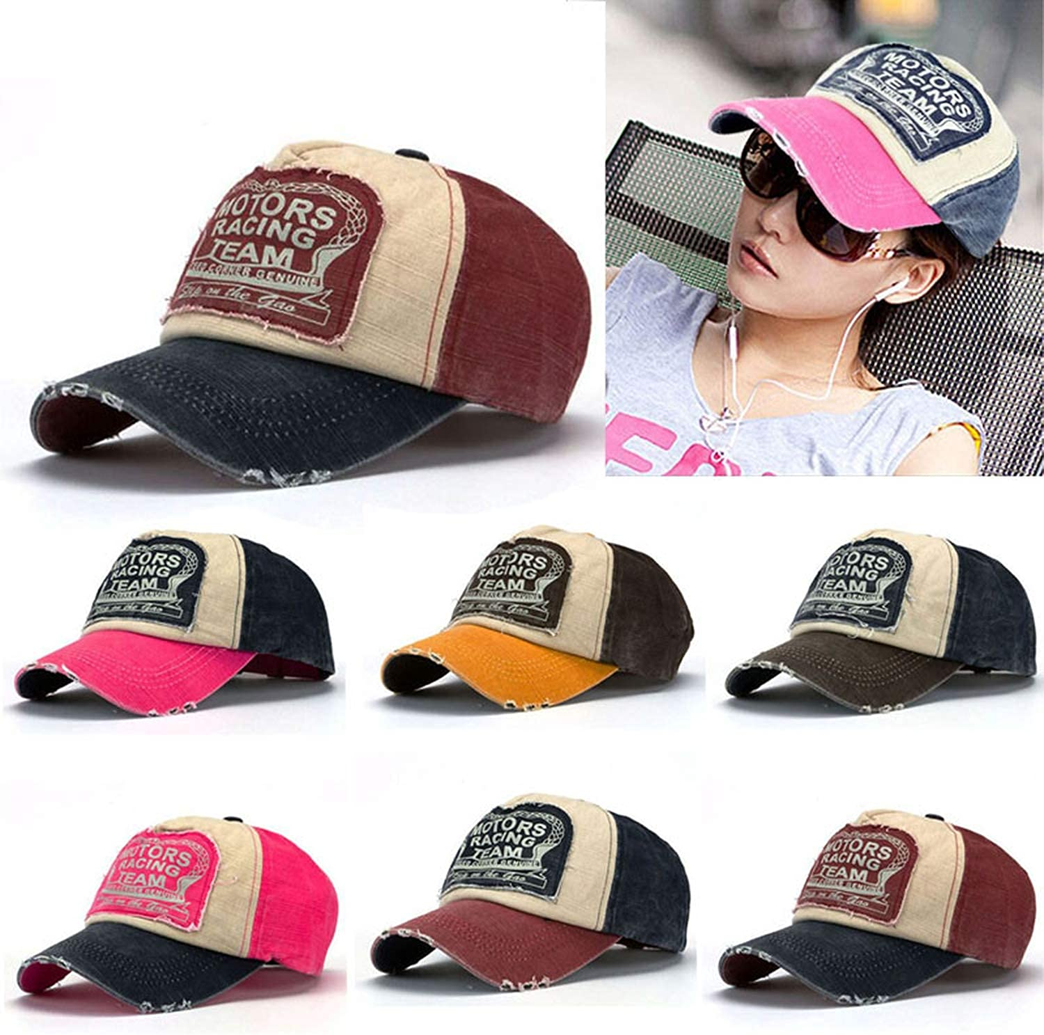 New Cotton Letter Print Baseball Cap Men and Women Motorcycle Cap Grinding Do Old Hat