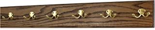 "product image for Oak Wall Mounted Coat Rack with Solid Brass Dual Style Hooks 4.5"" Ultra Wide (Walnut, 30.5 x 4.5"" with 6 Hooks)"