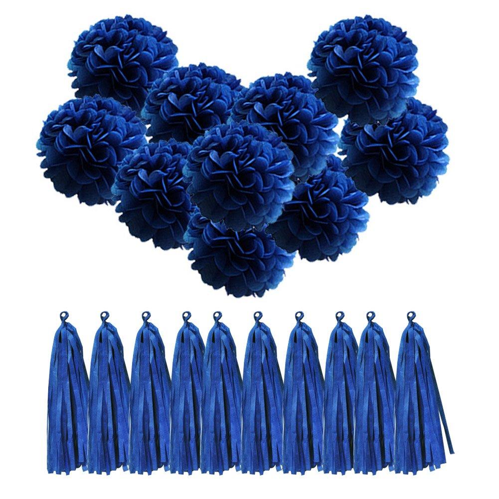 10 Pack Paper Tassel Tassels Dark Blue QUCHER 10 Pack Tissue Paper Pompoms Pom Poms Flower Handmade DIY Wedding Decoration Birthday Party Reception Decorations
