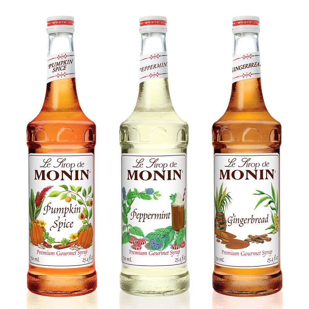 Monin -3 Flavor Holiday Gift Set: Gingerbread,Peppermint and Pumpkin Spice Syrups, Natural Flavors, Great for Cocktails,Cocoas,Mochas and Ciders,Vegan, Non-GMO,Gluten-Free (750 Milliliters per bottle) by Monin