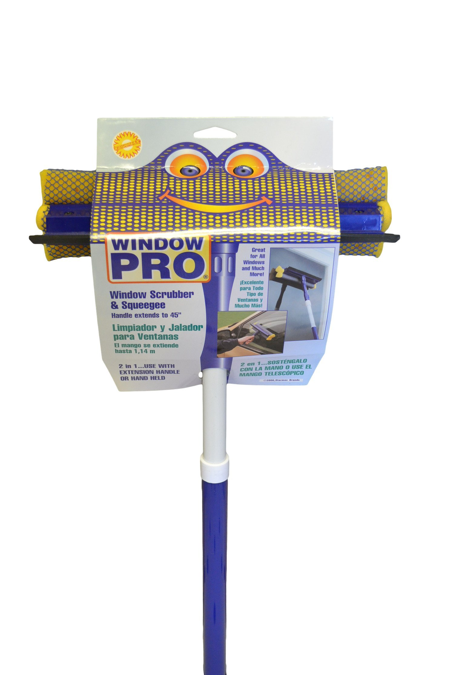 Starmax 9-1/2'' Window Pro Non-Scratch Scrubber and Squeegee with Metal Handle That Extends to 45'', Pack of 6, 380-26