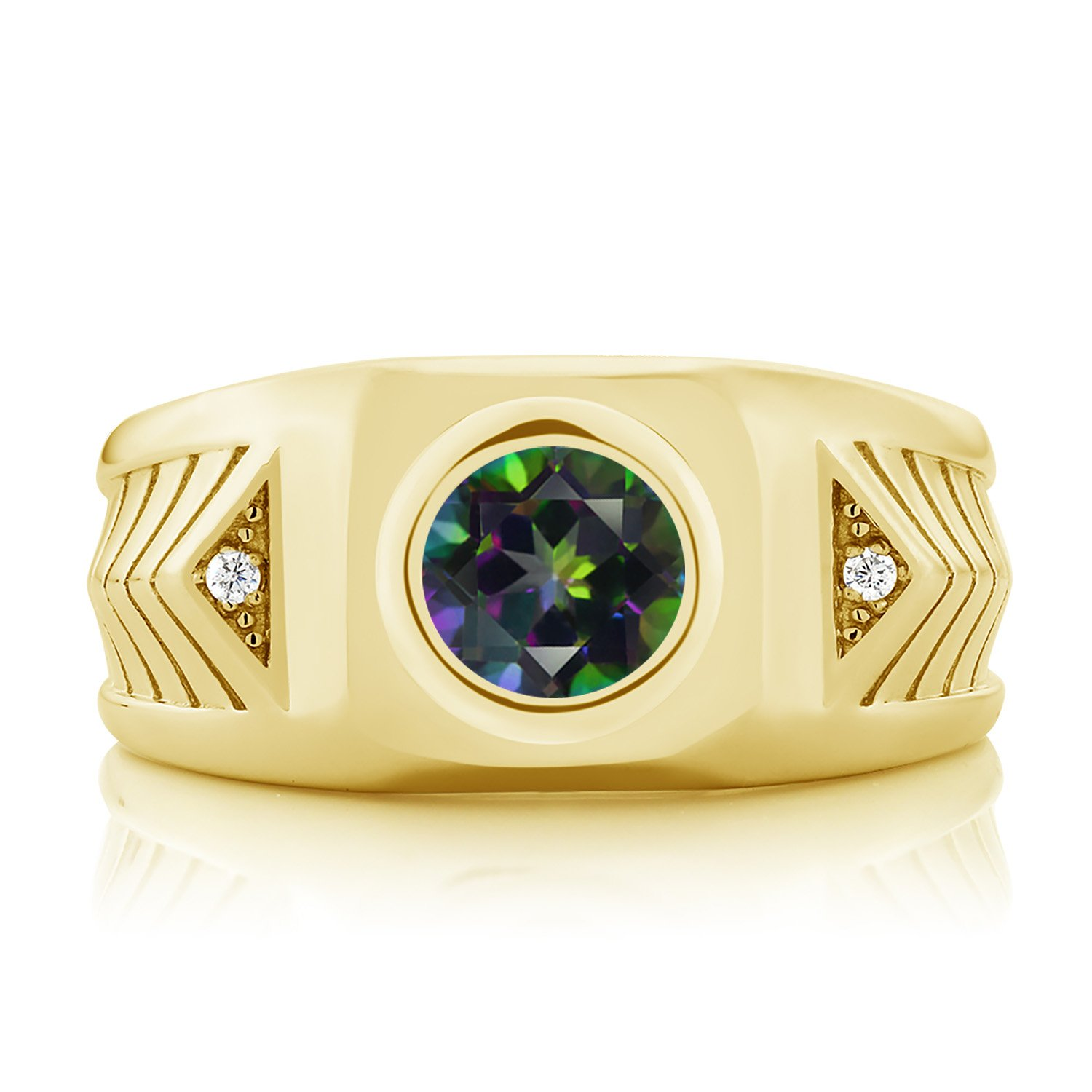 Gem Stone King 2.73 Ct Green Mystic Topaz 18K Yellow Gold Plated Silver Mens Ring