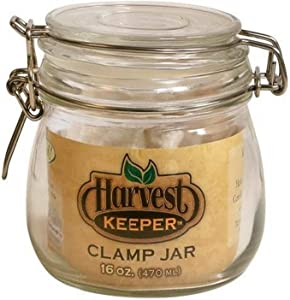 Harvest Keeper 744330 Glass Storage Jar with Metal Clamp Lid, 16 oz