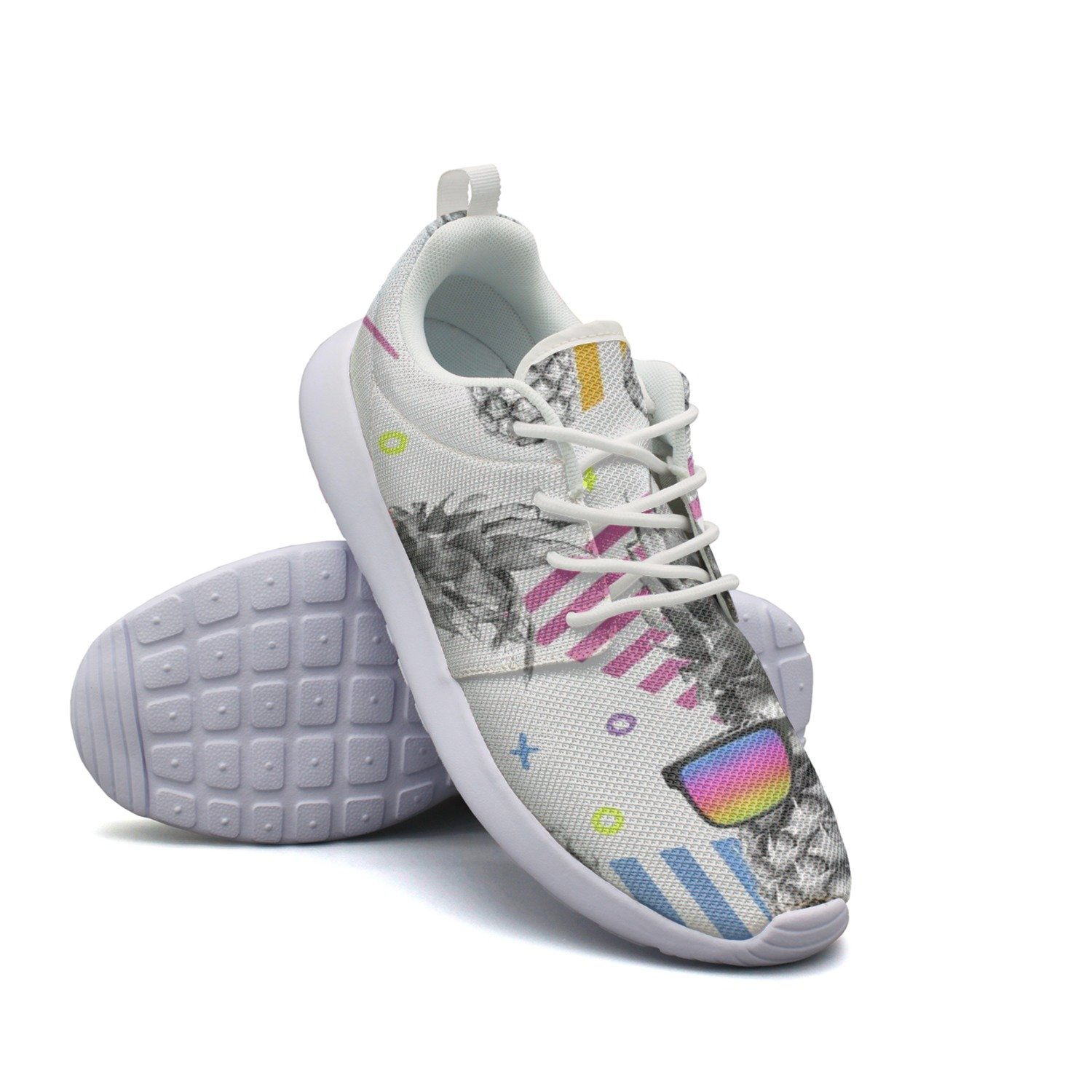 Awesome Style Pineapple With Vintage Eye Glasses Women's Net Fashion Running Shoes Navy Colorful