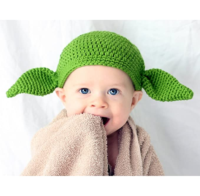 cotton yarn handmade Star Wars baby Yoda hat Green Goblin hat with ears - Multiple Sizes available kids