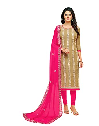 4a529e460c Ladyline Womens Silk Salwar Kameez Gota Patti Work Embroidered at Amazon  Women s Clothing store