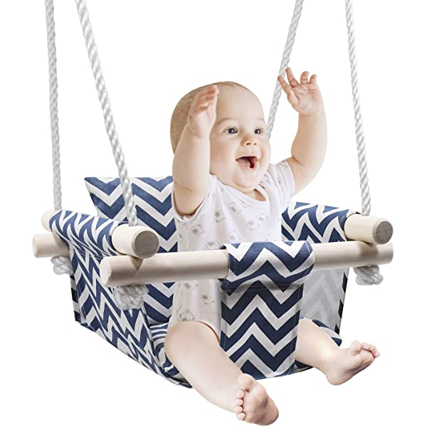 Amazon Com Secure Baby Hanging Swing Seat Wooden Canvas Baby Swing With Cushion And Pe Ropes Indoor And Outdoor Baby Hammock Chair For Toddlers And Infants Kitchen Dining