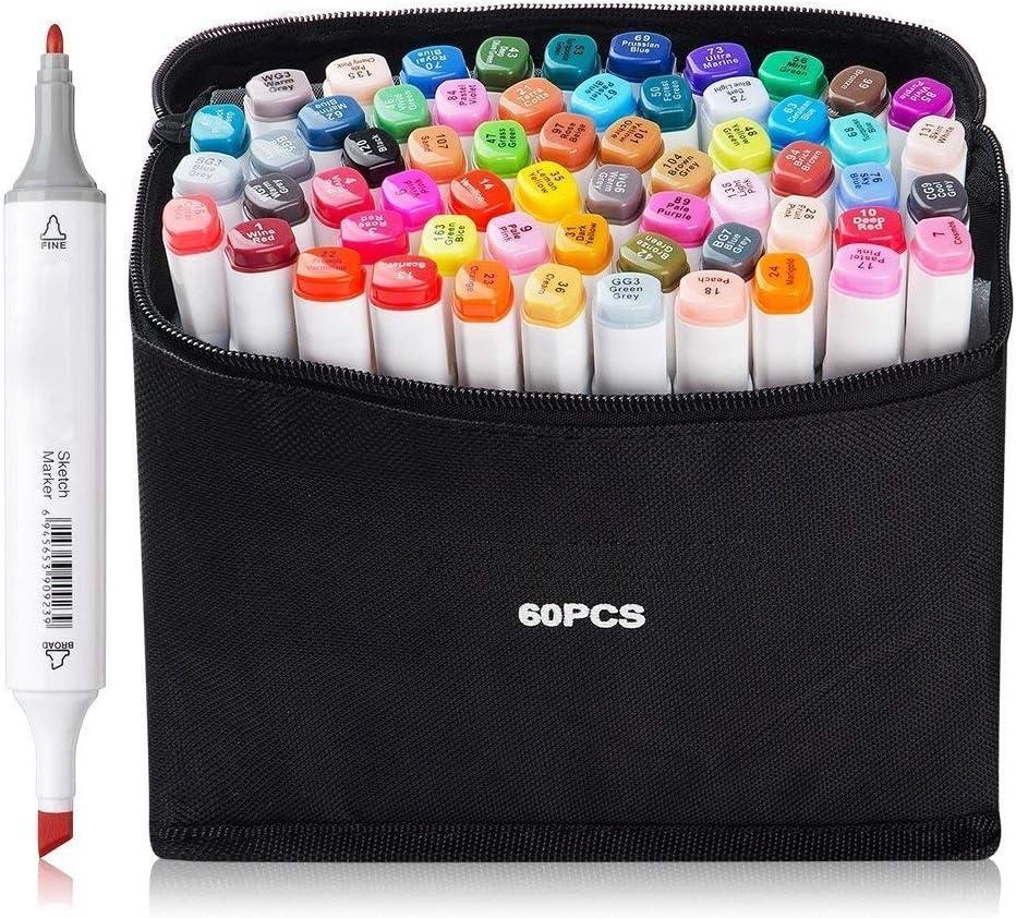 60 colores permanentes Marcadores de arte Rotulador doble Marcador de punta fina ancha Diseño de animación en negro para dibujar Colorear con bolsa negra 60 colores.