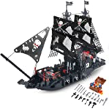 BRICK STORY Black Pirate Ship Building Kit with 5 Mini Pirates Figures, and 4 Skull Mini Toy Doll, Pirate Ships Toy Boat Buil
