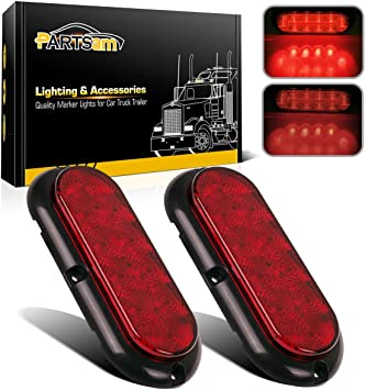 tail light diagram on freightliner amazon com partsam 2pcs 6  red 10led oval truck trailer stop turn  red 10led oval truck trailer