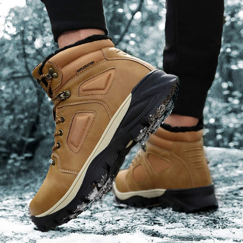 Men Snow Boots 2019 New Anti-Slip Warm Winter Plus Velvet Ankle Hiking Booties