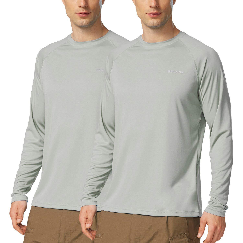 Baleaf Men's UPF 50+ Outdoor Running Workout Long-Sleeve T-Shirt 2 Pack Gray Size XL