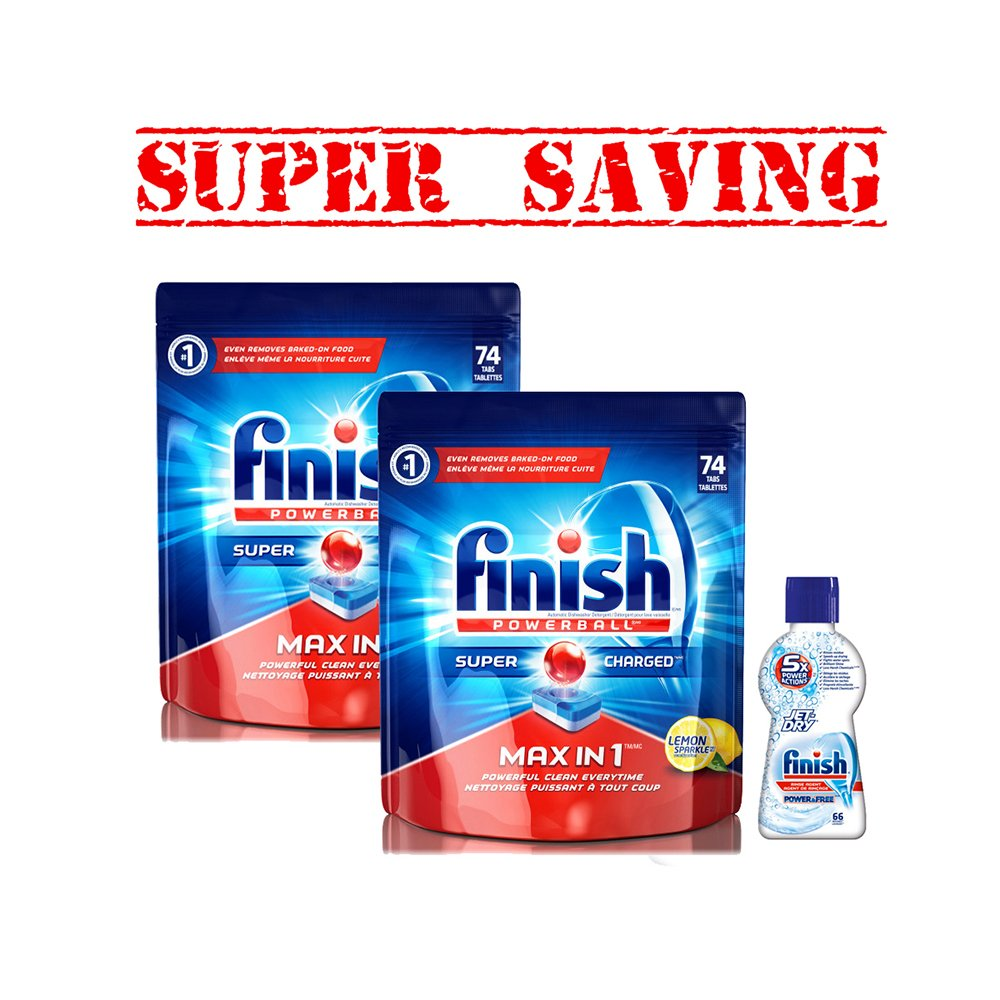 2XFinish Dishwasher Detergent Soap, Max In 1 Powerball 74 & Jet-Dry Rinse Aid 66- Super Saving #2