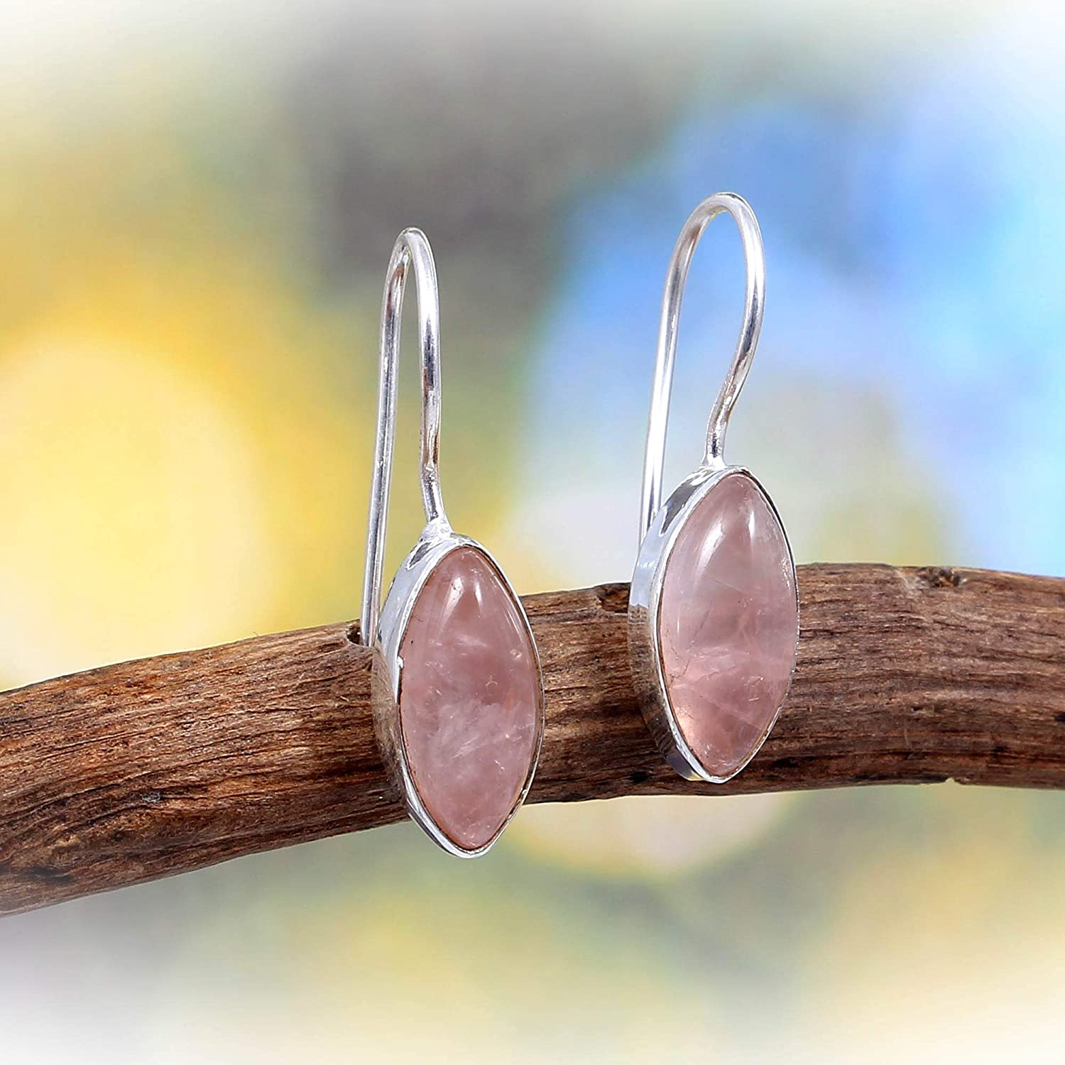Handcrafted Designer Stylish Charm Fashion Jewelry 925 Sterling Silver Gift for Women Ladies and Girls Pink Color ❤️❤️ 100/% Authentic Natural Rose Quartz Cab ️Drop Earrings ❤️❤️