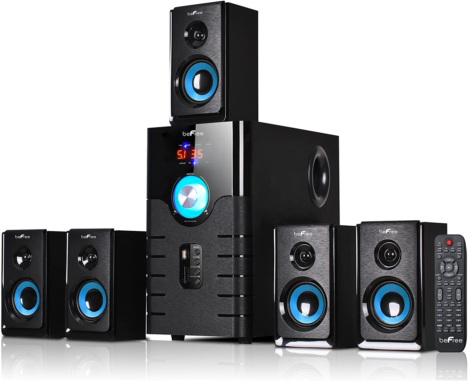 beFree Sound BFS-500 5.1 Channel Surround Sound Bluetooth Speaker System- Blue