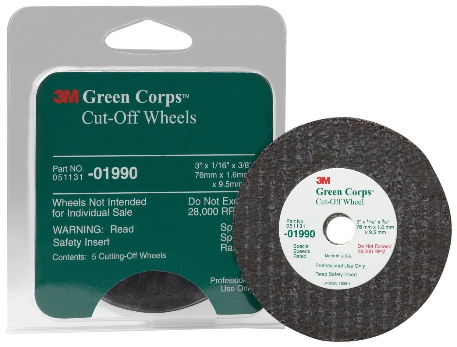 3M 01990 Green Corps 3'' x 1/16'' x 3/8'' Cut-Off Wheel (5 Wheels Included)