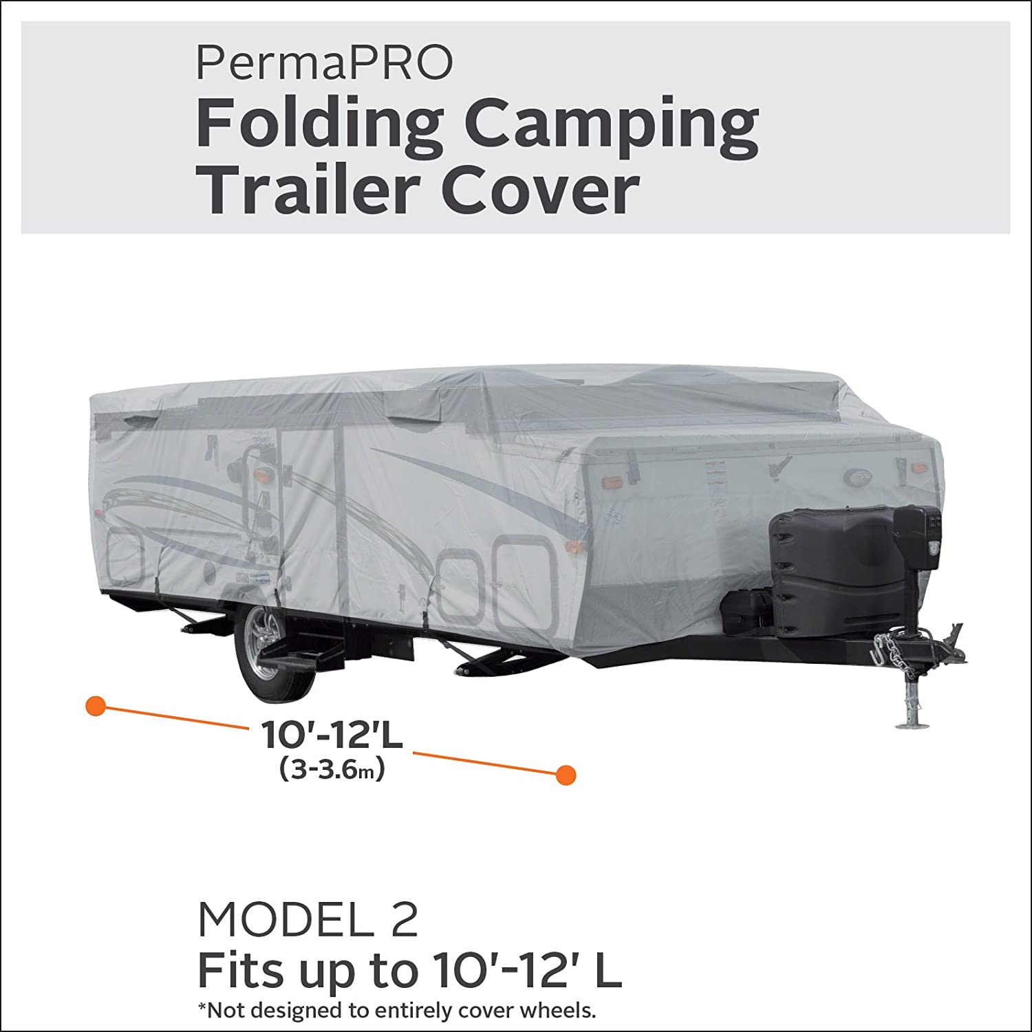 Classic Accessories 80-402-151001-RT PermaPro RV Cover for 10-12 Long Folding Camping Trailers