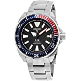 Seiko Men's Prospex Special PADI Edition Samurai Black Dial Stainless Steel Bracelet Watch - Model: SRPB99