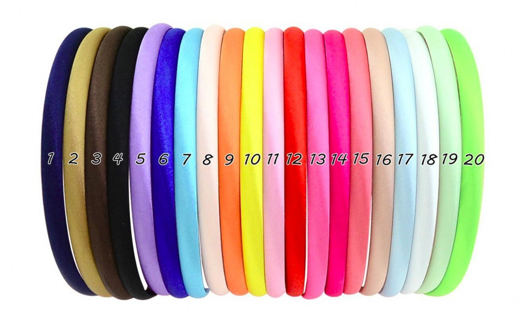 Calliar Girl Colorful Cute Kids Hairbands Plastic DIY Hair Bands 1cm Width 36cm Circle Size,20 Pack-Colorful