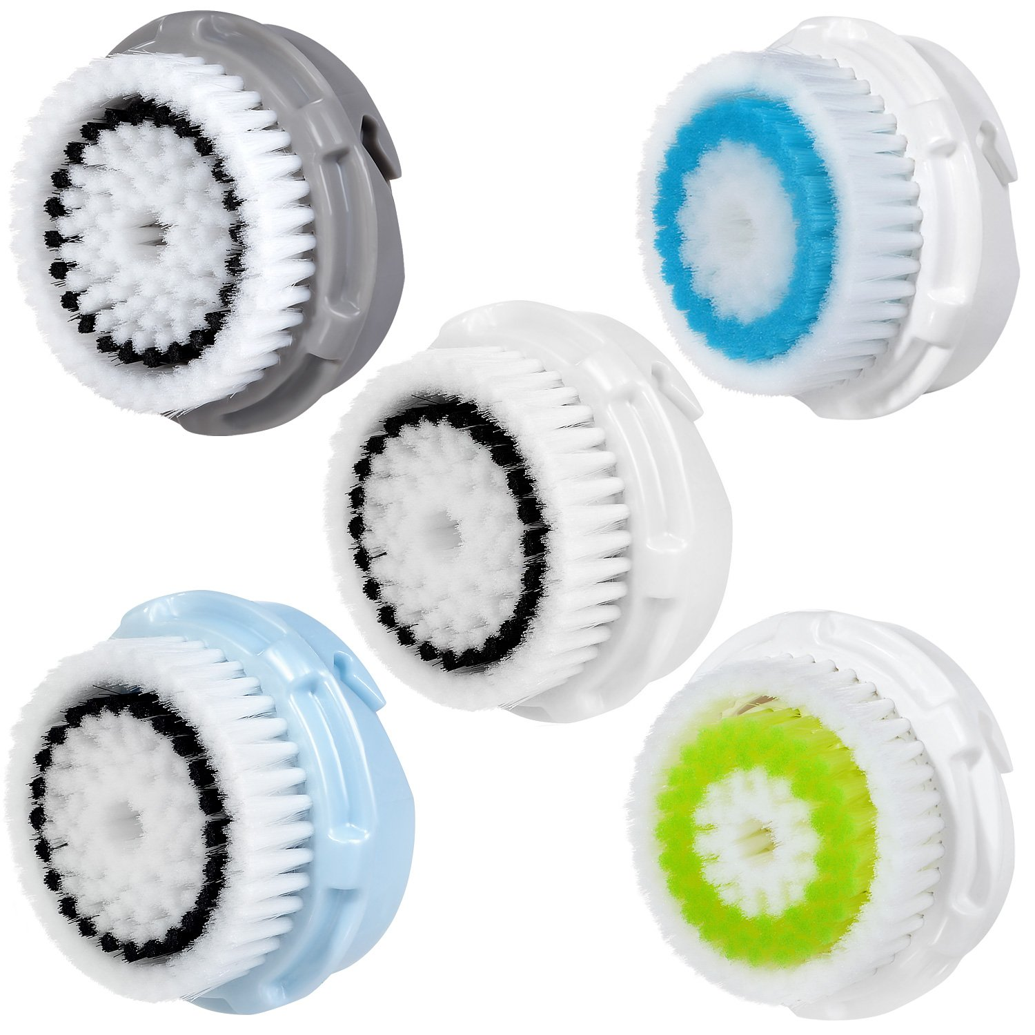 5 x cabezas de cepillo E-Cron. Cabezal de cepillo para la limpieza facial para la piel sensible (Sensitive), Normal, delicado (Delicate), poros profundos (Deep Pore) y acne(Acne) de Clarisonic. Compatible con Mia 1, 2, 3 (Aria), SMART Profile, Alfa Fit, Pl