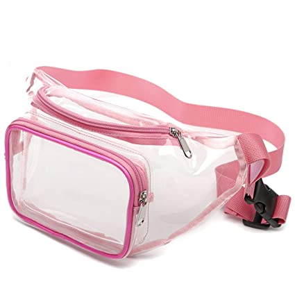 4d5fde84268e Pink Fanny Pack, iSPECLE 2 Zippered Compartment Clear Bag Approved for NFL,  PGA, NCAA, Adjustable Waist Strap for Clear Purse