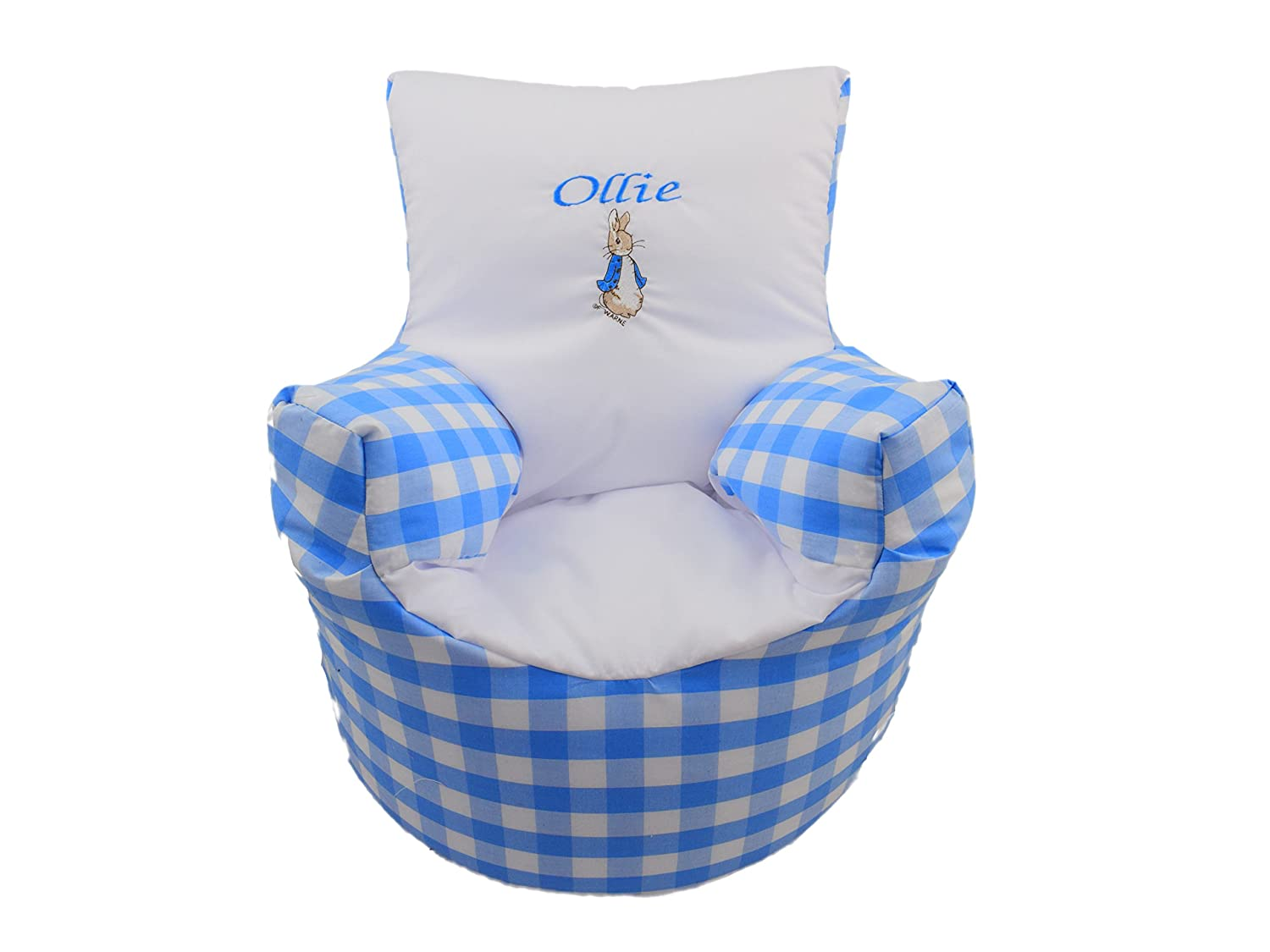 CHILDRENS KIDS TODDLER PRE FILLED PERSONALISED BEAN BAG CHAIR SEAT BOYS PETER RABBIT (NEXT DAY DISPATCH) Small World Baby Shop