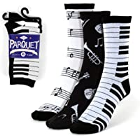 Women's 3 Pairs Music Notes,Piano and Musical Instruments Dress Crew Socks