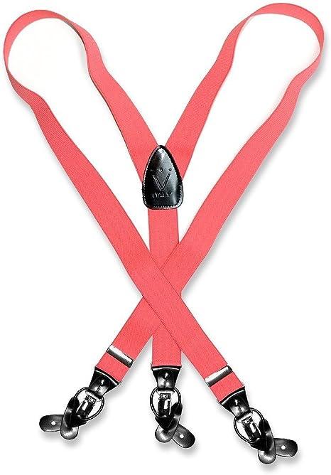 New Y back Men/'s Vesuvio Napoli Suspenders Braces clip on formal party Red