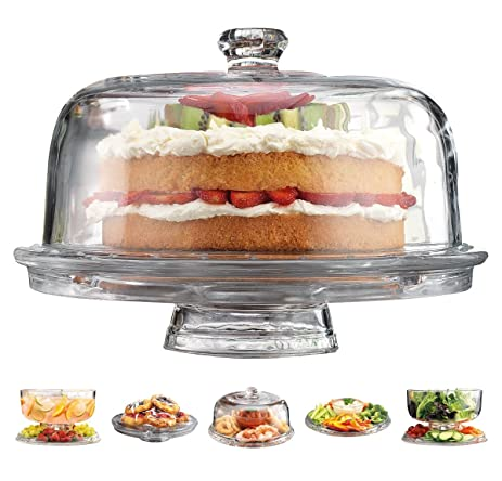 Elegant 6 in 1 Cake Plate Features a Cake Plate with Dome Punch Bowl  sc 1 st  Amazon.com & Amazon.com | Elegant 6 in 1 Cake Plate Features a Cake Plate with ...