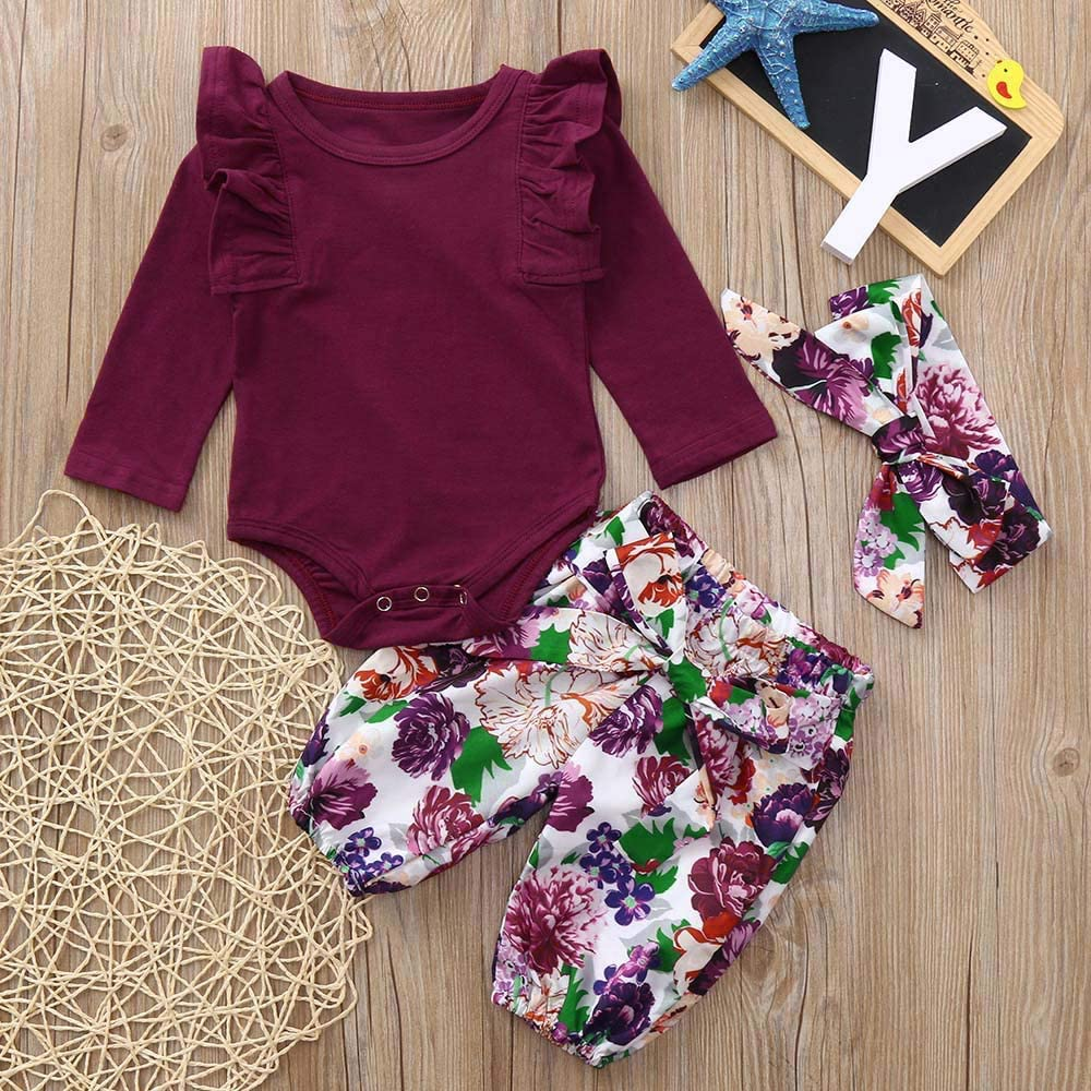 Baby Girls Clothes Set Infant Toddler Long Sleeve Romper Floral Pants with Headband 3PCS
