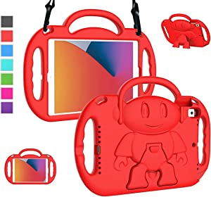 LTROP New iPad 8th Generation Case, iPad 10.2 Case, iPad 7th Generation Case for Kids - Shockproof Handle Stand Shoulder Strap Kids Case for Apple iPad 2020 (8th Gen)/2019 (7th Gen) 10.2-inch, Red