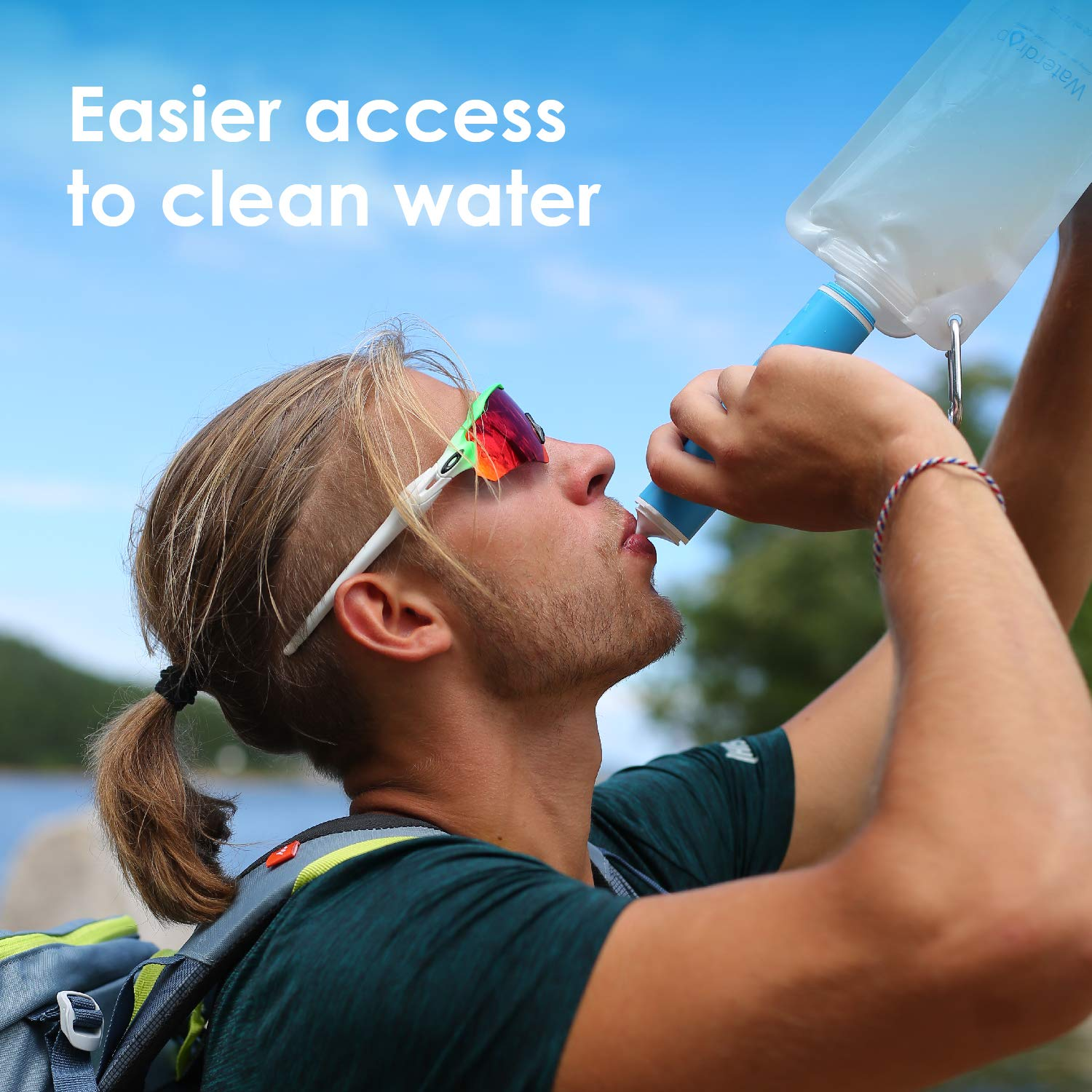 Portable Camping Filtration System Drinking Water Purifier for Emergency Hiking Travel Backpacking Waterdrop Personal Water Filter Straw with Gravity Water Bag