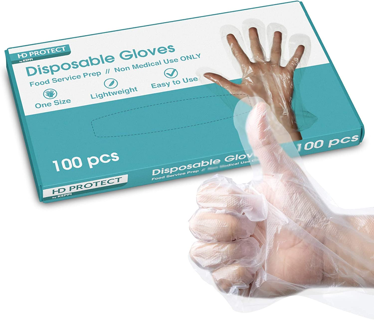 100 Pack Disposable Plastic Gloves - Food Prep Gloves Bulk Disposable Gloves Transparent Plastic Gloves for Food Service, Cleaning, Food Handling, Shared Spaces - One Size Fits Most