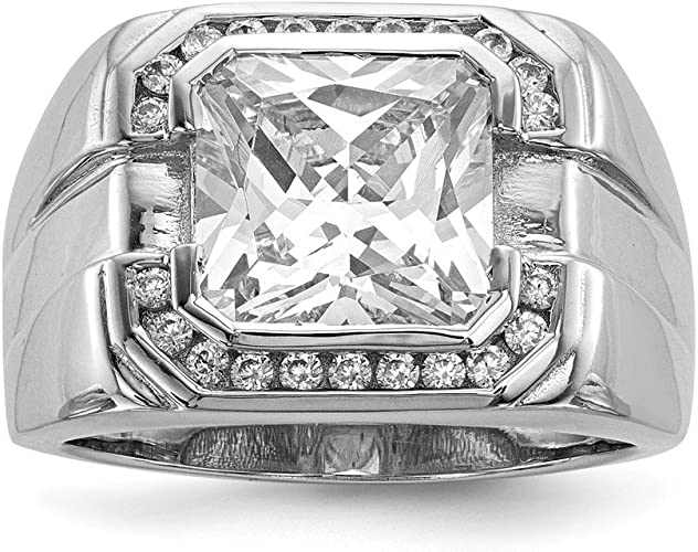 Women/'s Cubic Zirconia wide Sterling Silver CZ Wedding Band Satin Matte Brushed