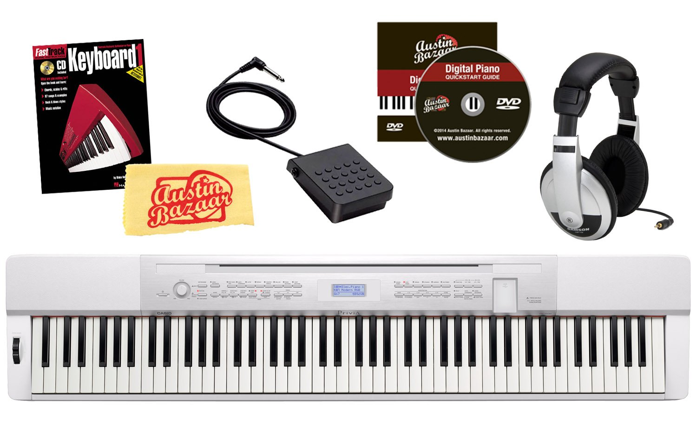 Casio Privia PX-350 88-Key Digital Piano Bundle with Samson HP10 Headphones, Hal Leonard Instructional Book, and Austin Bazaar Polishing Cloth - White