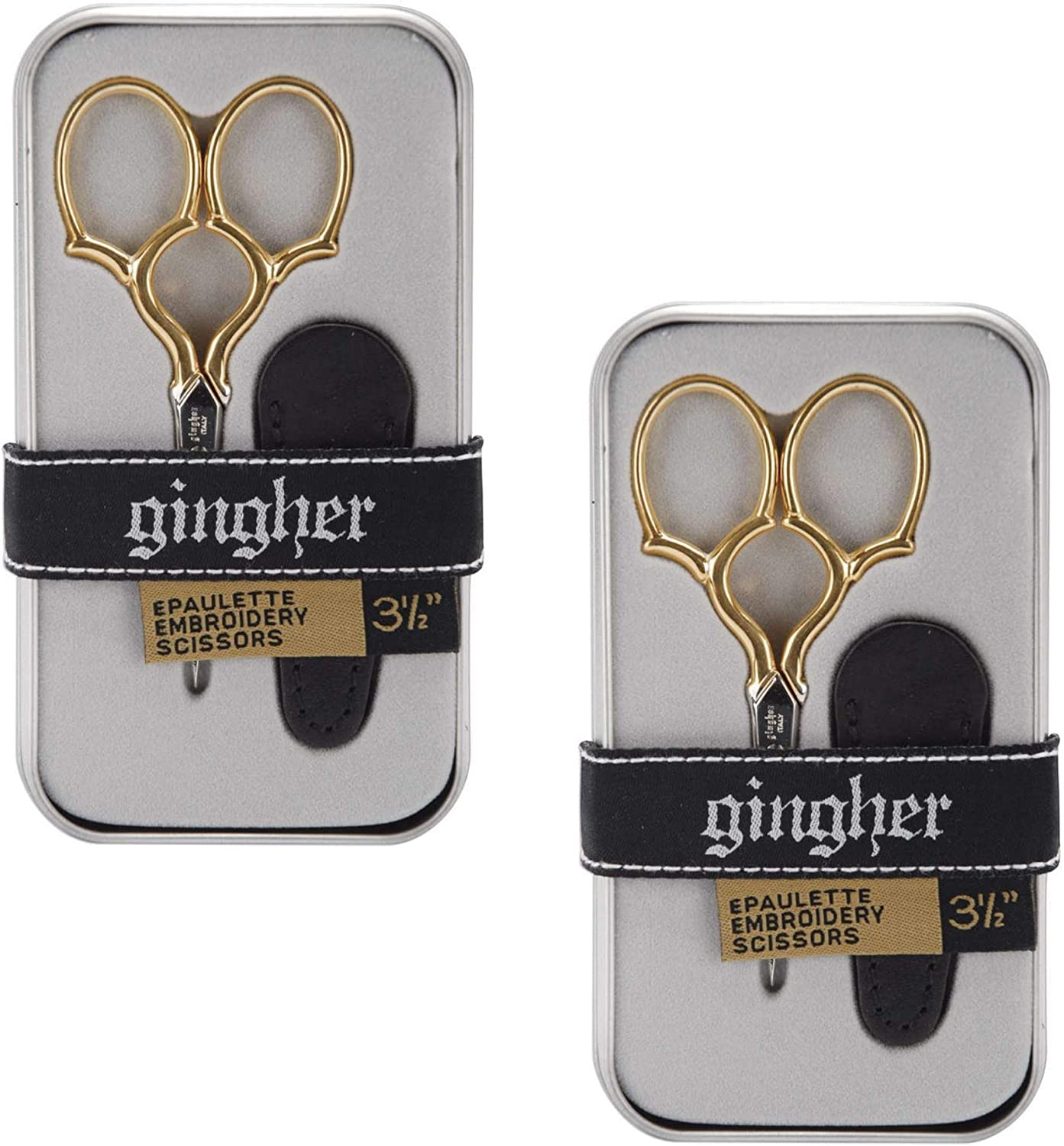 Gingher 1005279 Epaulette Embroidery Scissors 3.5-W/Leather Sheath, 2 Pack