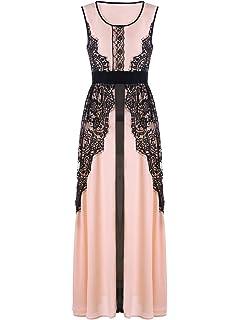 YTJH Maxi Dress Abito da Sera con Pizzo Vintage e Elegante Vestito da  Cerimonia Senza Maniche 1ade7a00dd6
