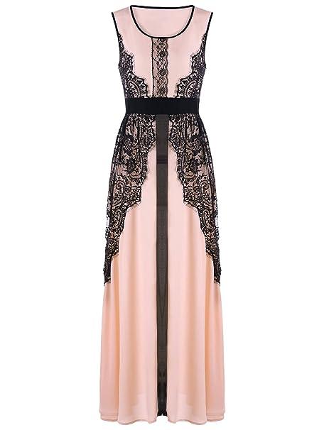 9d5c4fbc58eb YTJH Maxi Dress Abito da Sera con Pizzo Vintage e Elegante Vestito da  Cerimonia Senza Maniche