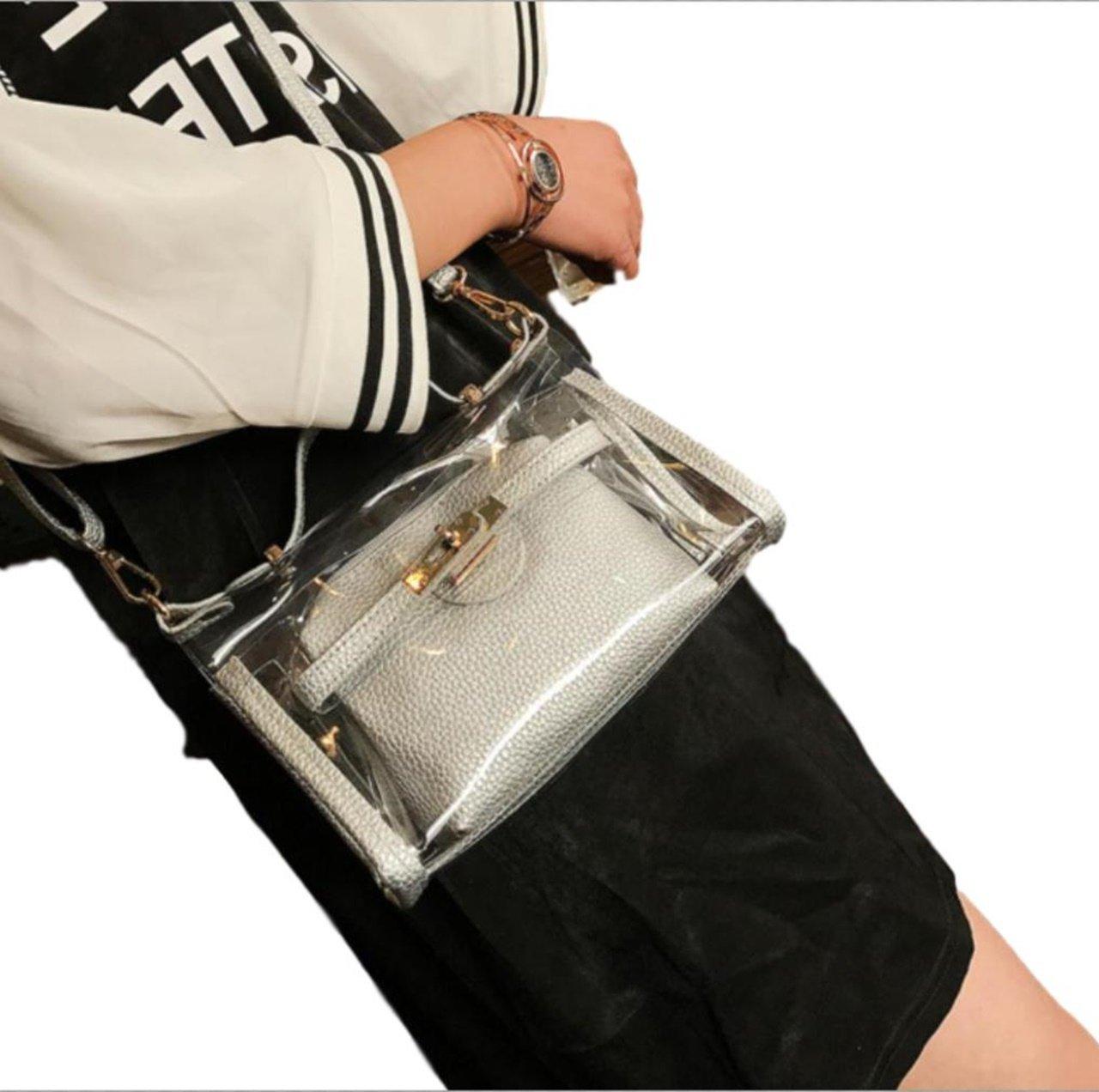 ten is heart Clear bag Plastic Women Handbag summer shoulder Pouch set Waterproof (Medium, Silver)