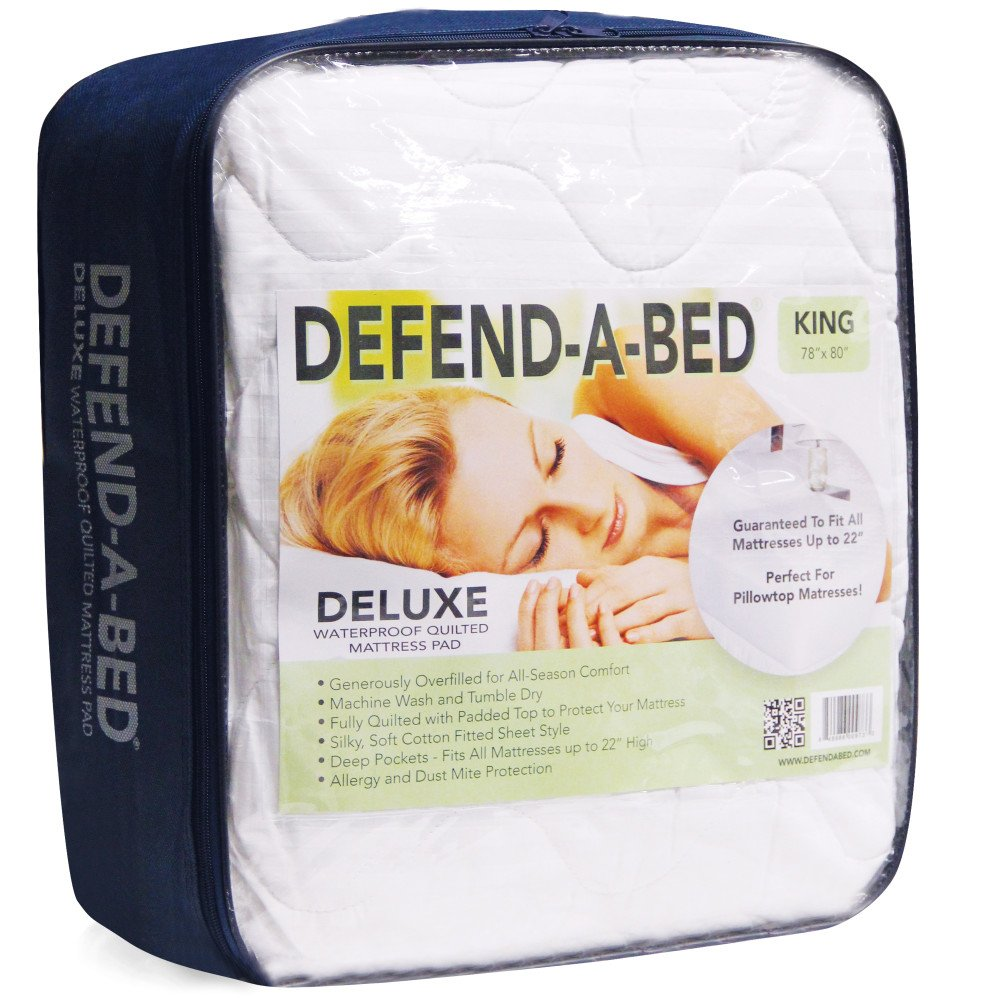 amazoncom classic brands defendabed deluxe quilted waterproof mattress protector queen kitchen u0026 dining