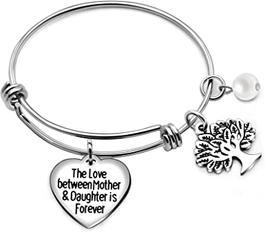 Bangles Mother Pearl Pendants Family Gifts Tree of Life The Love Between Mother And Daughter is Forever