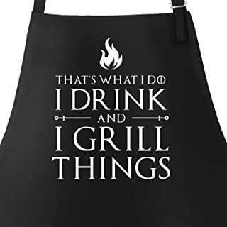 MoonWorks® BBQ Apron for Men with Quote I Drink and I Grill Things BBQ Apron Cotton Apron Kitchen Apron Cooking Apron BBQ Meat Summer